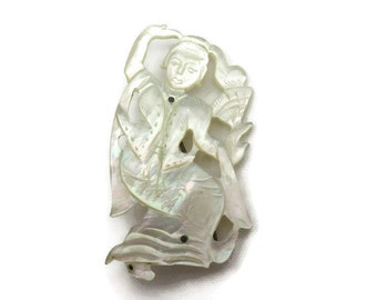 Mother of Pearl Brooch - Carved, Bali or Thai Inspired 1940s