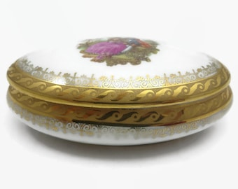 Vintage Limoges Trinket Box - Porcelain Jewelry Box, Courting Couple, France