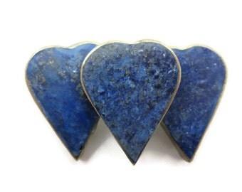 Lapis Brooch - Vintage, Hearts