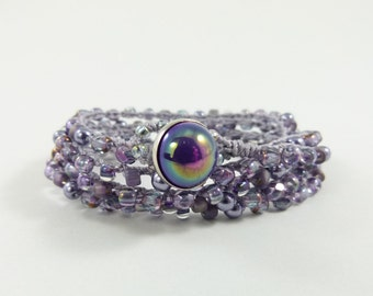 Lavender Beaded Crochet 5x Wrap Bracelet or Long Beaded Necklace  - Item 1553