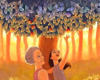 What Grandma Gave Me | 8X10 grandma and granddaughter, grandmother love, positive emotional art, | by Meluseena