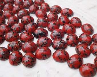 10x8mm Red Matrix Smooth Top Oval Flat Back Cabs or Stones (12 pieces)