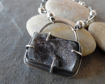 Sale Rustic Hand Made Natural Chalcedony Druzy Necklace OOAK Sterling Silver Artisan OOAK Jewelry.