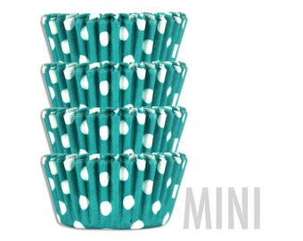 Mini Turquoise Polka Dot Baking Cups - 50 mini paper cupcake liners