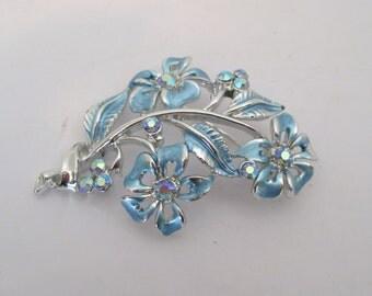 Vintage Silver Tone Blue Floral Brooch Pin Aurora Borealis Rhinestones Costume Jewelry