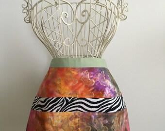 Waist Half Apron Vendor Teacher Nursery Batik Zebra (8 Pockets)