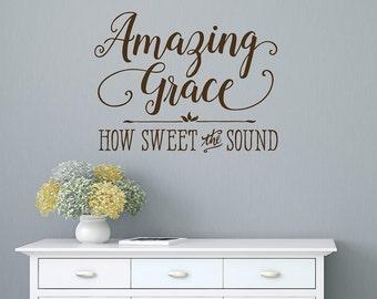 Christian Wall Decal, Amazing Grace, Bible Verse Wall Decal, Amazing Grace Wall Decal