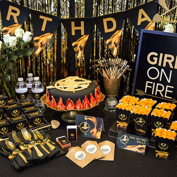 The Hunger Games Inspired Party Printables -- DIGITAL -- banner, invitation, cupcake picks, favors, straw flags, and more!
