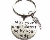"""Silver """"May Your Angel Always Be By Your Side"""" Quote Message, Angel Wing Charm, Guardian Angel Keychain, Key Chain, Bag Charm, Gift"""
