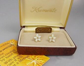 Vintage Krementz Opal Earrings Gold Overlay Stud Earrings Forget Me Not Flower Boxed
