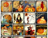 Digital Collage Sheet, 2 X 2 inch,  Halloween Postcard Images, 2 inch squares (Sheet no. O257) Instant Download