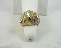 Vintage Gold Electroplate Ring Rhinestone Crystal 18KT HGE Size 7 Restored
