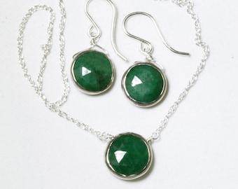 Genuine Emerald 2-piece SET Emerald Necklace Emerald Earrings Emerald Jewelry May Birthstone Precious Emeralds BZ-SET-105-Em/s