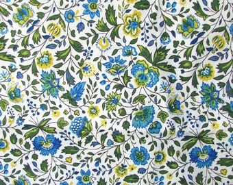 Vintage Fabric, 1 Yard Vintage 1970's  Cotton Floral Design Decor Fabric, Flower and Vine in Blue, Yellow, Green on White, Sewing