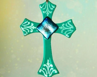 Teal Fused Glass Dichroic Cross Ornament Suncatcher
