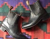 Baja Botinas 1960's Style Chelsea Pull On Black Ankle Boots  sz 8.5 ladies