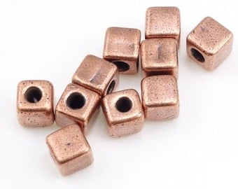 Antique Copper Beads Copper Cube Beads TierraCast 4mm Cube Spacer Beads Heishi Beads for Copper Jewelry Making Geometric Modern (PS213)
