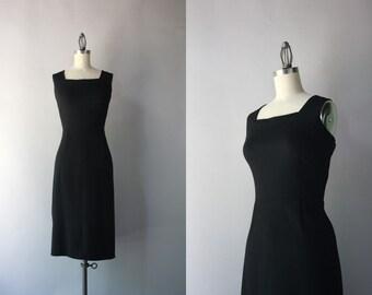 50s Dress / 1950s Little Black Dress / Vintage 50s Bombshell Black Wool Wiggle Dress