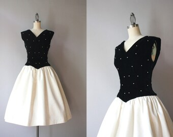 1950s Party Dress / Vintage 50s Black and White Pearl Studded Dress / Watered Taffeta and Velvet 50s Party Dress