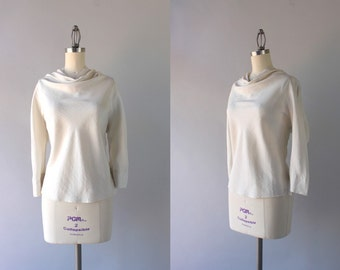1960s Silk Tunic Blouse / Vintage B.H. Wragge 1950s Cowl Neck Top / 60s Raw Silk Blouse