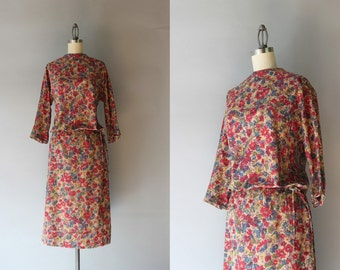 1960s Dress Set / Vintage 60s Ruby Red Floral Cotton Dress / 1960s Blouse and Skirt Set