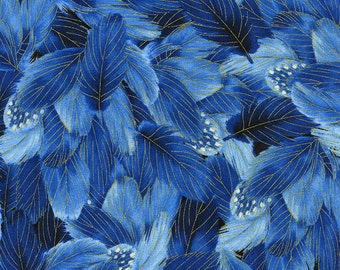 Packed Feathers Blue Gold Glory Chong-a Hwang Timeless Treasures Fabric 1 yard