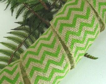 "Burlap Green Chevron 2 1/2"" Wired Ribbon Jute 15 feet wedding bows wreaths"