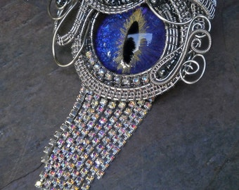 Gothic Steampunk Purple Blue Eye Pin Pendant with Rhinestones