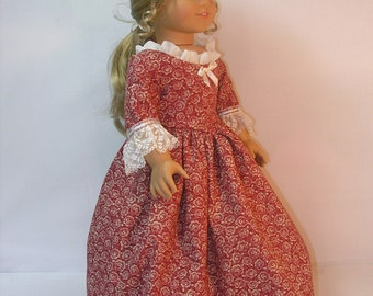 18 Inch Doll Clothes Colonial Dress fits American Girl Doll Felicity or Elizabeth 1774-1063