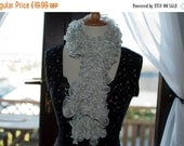 On Sale Handknitted Ruffles Scarf in White