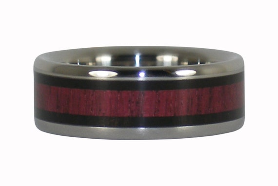 Titanium Ring with Black Wood and Purple Heart
