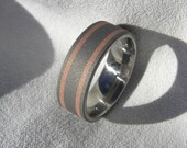 Ring, Wedding Band, Titanium with Copper Inlay Stripes, Sandblasted