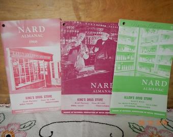 Six Vintage Almanacs 1950s 1960s 1970s NARD Almanac King's Drugstore Rural Valley PA Allen's Drugstore Kittanning PA