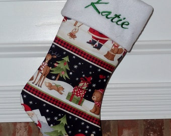 Santa and Woodland Friends Personalized Christmas Stocking