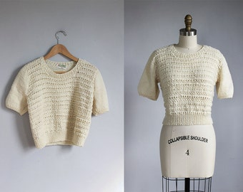 1980s vintage handmade CREAM white knit sweater - s