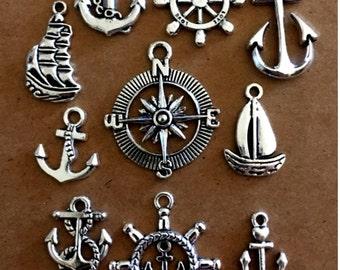 10 piece Nautical charms - SC240 #MG