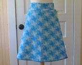 Frances A-line Skirt - Vintage Knit Style - Aqua Houndstooth - Size Medium