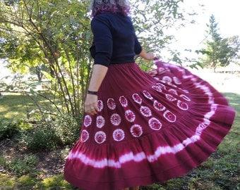 Dupioni Silk Skirt, with Karamatsu Larch Shibori, Handmade and Dyed by 1000 Colors