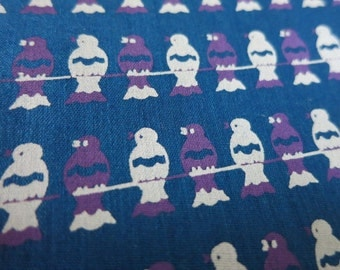Cool Birds On a Wire - hand printed cotton fabric - Half yard