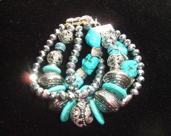 Handmade, Original, Chunky Bohemian Bracelet, Gypsy, Crystal, Turquoise, Decorative Metals, Rhinestones, Festival, Trendy