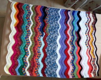 Colorful Baby boy/girl blanket waves pattern OOAK