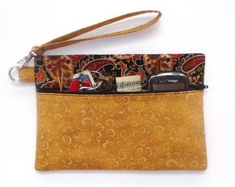 Gold Fabric Wristlet, Paisley Contrast Clutch, Small Zippered Wallet or Purse, Makeup or Phone Holder, Rust Gold Black Gadget or Camera Bag