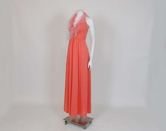 1970s dress / Disco Dream Vintage 70's Marabou Bias Halter Maxi Dress