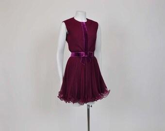 1960s dress / Vintage 50's Chiffon Cocktail Party Full Mini Dress w Pants