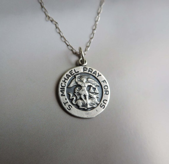 st michael pray for us medal pendant sterling silver