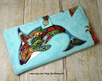 Orca Killer Whale - Handmade vegan Long Wallet  BiFold Clutch - Animal Spirits Ocean Critters or half size unisex wallet
