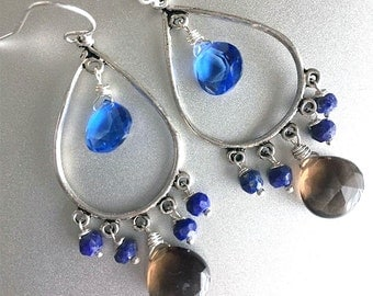 Tanzanite Blue, Smokey Quartz and Lapis Lazuli Chandelier Earrings, Surf and Sand Earrings, blue and brown quartz earrings