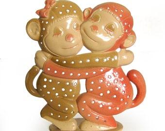 1970s Vintage Hugging Monkeys Earring Tree or Earring Stand - Enameled Metal Revere Mfg.