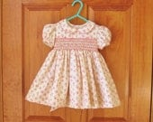 Baby girl smocked dress, shabby roses, coral pink, size 12 Mo., ready to ship, Easter, New baby, party dress, toddler, heirloom, OOAK