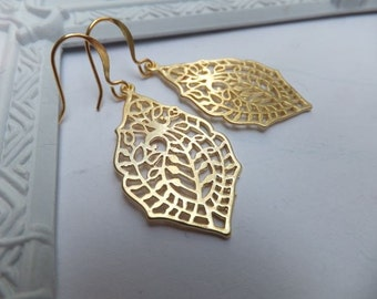 Gold Plated Filigree Leaf Earrings Flat Gold Plated Surgical Steel French Hooks